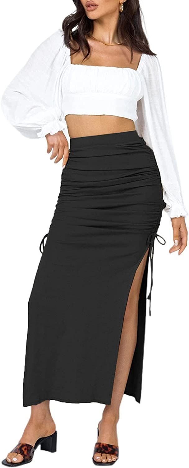 Women's Solid Color High Waist Side Split Maxi Skirt Summer Casual Package Hip Skirt with Drawstring