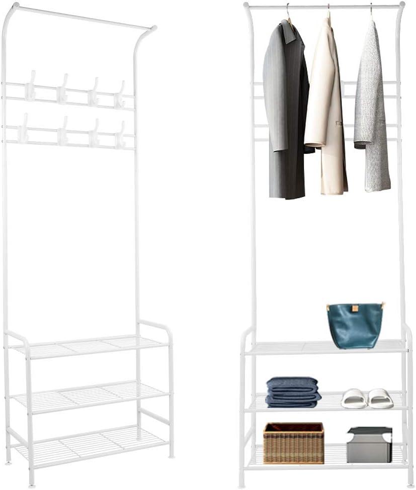 184x62x29cm Kleiderhaken Garderobenst/änder mit 18 Haken aus Metall super Stabiler Kleiderst/änder mit Schuhablage YOLEO Garderobe wei/ß
