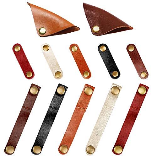 ケーブルクリップ 、MAVEEK(マビーカ) 牛革製ケーブルホルダー コードクリップ コード巻き取り イヤフォンホルダー ケーブルコード収納 3類12本入り