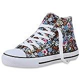 SCARPE VITA Damen Sneaker High Stoff Prints Freizeit-Schuhe Schnürer Blumen Schnür-Schuhe Stoff-Schuhe 196453 Schwarz Hellblau Pink Muster 38