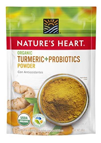 Nature's Heart, Curcuma y Probioticos en polvo Organico, 100 gramos