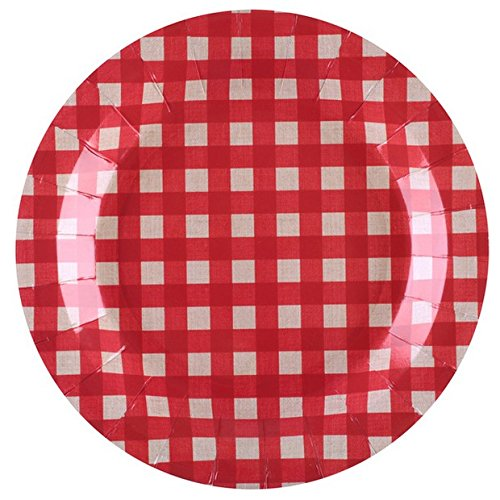 Chal - 10 Assiettes en Carton Tradition Vichy Rouge