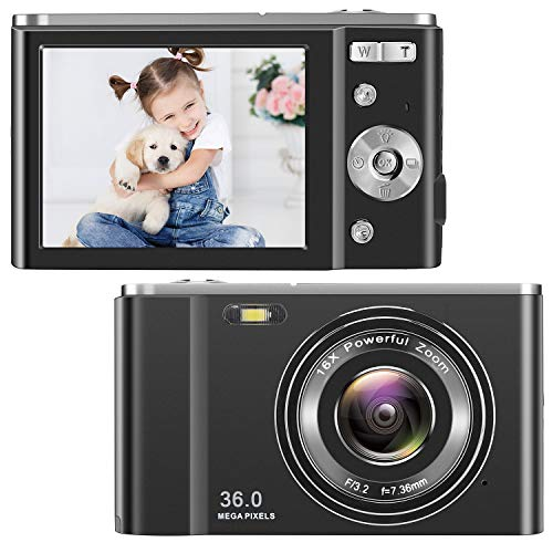 toberto HD Digital Camera, 1080P Vlogging LCD Mini Camera with 16X Zoom 36MP 2.7K Digital Point and Shoot Camera Video Camera, Indoor Outdoor for Kids Students Beginners Beauty Face