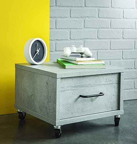 Demeyere STREET nachtkastje, 1 lade, kleur wit, zwart en beton, paneel, 41,5 x 39,29 x 29,8 cm