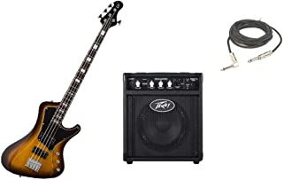 """$549 » ESP LTD Stream Series 204 Mahogany Body 4 String Rosewood Fingerboard Tobacco Sunburst Electric Bass Guitar with Peavey Max 158 Practice Amp & 1/4"""" Cable"""
