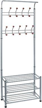 Haluoo Metal Entryway Coat Rack with 3-Tier Shoe Rack & 18 Hanging Hooks Industrial Hall Tree with Storage Bench Organizer Sh