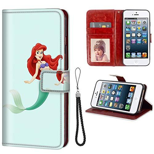 DISNEY COLLECTION Wallet Phone Case iPhone 5C Disney Princess Premium PU Leather Cash Card Slots Wrist Strap Lanyard Design Team
