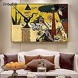 KWzEQ Imprimir en Lienzo Famosas Obras de Arte de Pared decoración del hogar para Sala de póster75x113cmPintura sin Marco