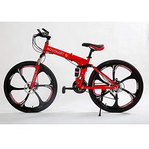 DOMDIL - Vélo de Montagne Pliable 24 Pouces, VTT pour Adolescents, avec Siège Réglable, Adapté aux Enfants et aux E'tudiants, Roue à 6 Couteaux, Rouge