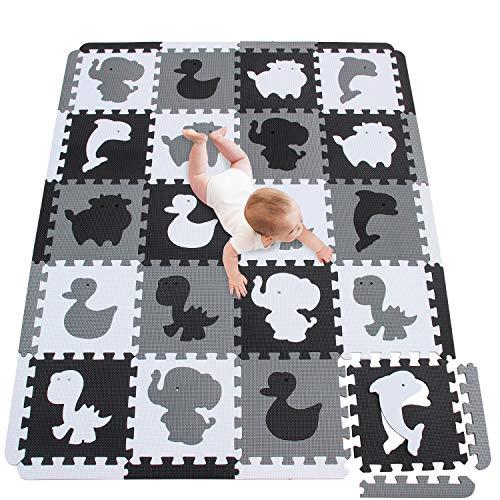 meiqicool Alfombra Puzzle Bebe Puzzle Suelo Bebe Acolchado Alfombra Goma eva Animal Blanco-Negro-Gris 150 x 122 cm ADLg30S18