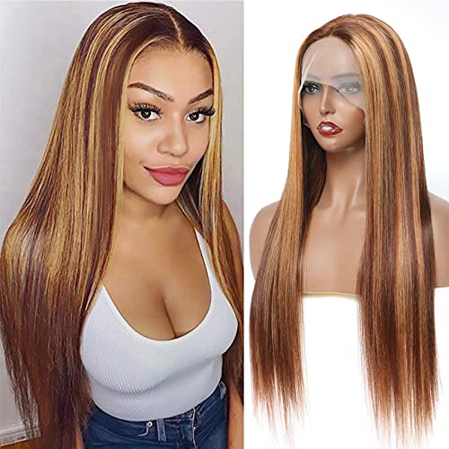 Ombre P4/27 Highlight Lace Front Wigs Straight Human Hair 13x4x1 Middle Part Transparent Frontal Wigs For Women(22inch )