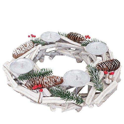 Mendler Adventskranz rund, Weihnachtsdeko Tischkranz, Holz Ø 40cm weiß-grau ~ ohne Kerzen
