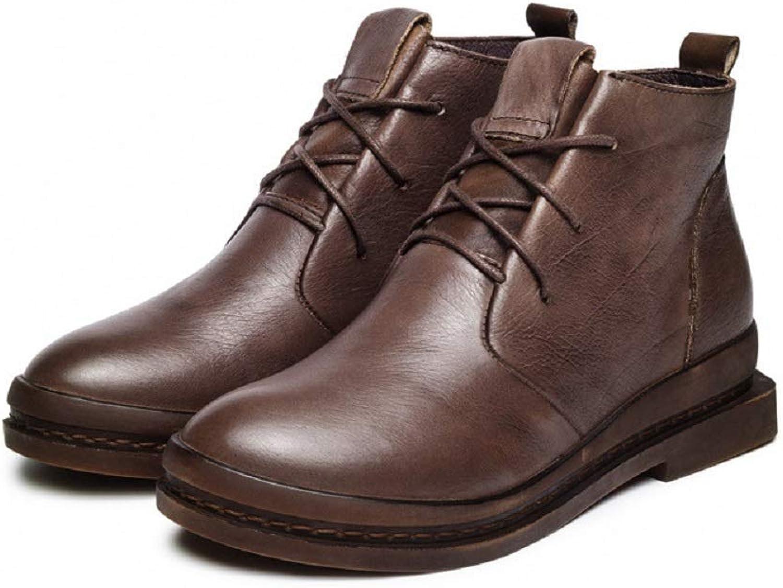 Fuxitoggo Martin Stiefel Damen Schnürschuhe Leder Flach Casual Ankle schuhe (Farbe   Braun, Größe   EU 40)  | Genial