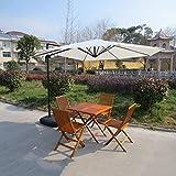 Sombrillas de jardín en voladizo con Base, 3 m (10 pies), Colgante de plátano, manivela/inclinación, protección UPF 50+