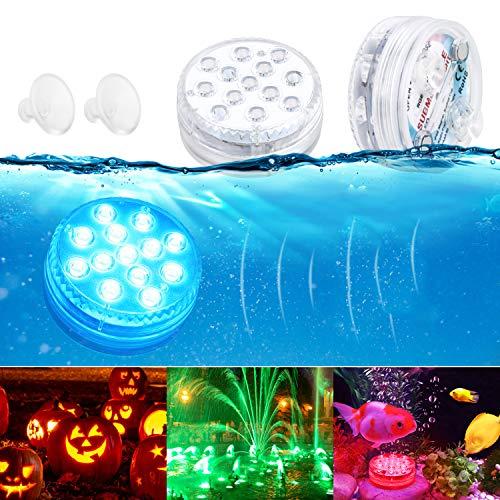 Luces Sumergibles GolWof Luz LED Piscina 16 RGB LED Subacuática Decoración Luz Impermeable con Rf Control Remoto para Acuario Estanque Jarrón Bodas Fiesta Jardín Piscina