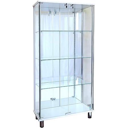 ガラスコレクションケース JONY ジョニー 鍵付 ガラスケース ディスプレイラック 地球家具 コレクションラック (ガラスケース本体(ワイド幅80cm ハイ)背面ミラータイプ, ホワイト)※LEDは別売です