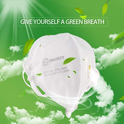 AOSANITY FFP3 Atemschutzmasken mit Luftventil – EN 149: 2001 + A1: 2009 Zertifiziertes, mehrschichtiges System mit hoher Filtrationskapazität Zusätzlicher Komfort und Sicherheit (10er-Pack) - 4