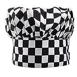 TRIXES Professional Kitchen Chef Hat Black & White Chequered