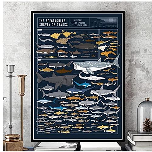 DLFALG Cuadro de animales de tiburones, arte de pared, cuadros modulares, estilo nórdico, pintura en lienzo, póster educativo, sala de estar, decoración del hogar, 50x70cm sin marco