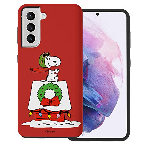"""Galaxy S21 ケース と互換性があります Peanuts Snoopy ピーナッツ スヌーピー ダブル バンパー ケース デュアルレイヤー 【 ギャラクシー S21 ケース (6.2"""") 】 (クリスマス 花輪 スヌーピー) [並行輸入品"""