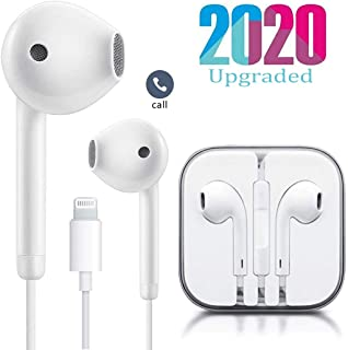 Lighting Earphones Headphone Wired Earphones Headset with Microphone and Volume Control, Compatible with iPhone 11 Pro Max/Xs Max/XR/X/7/8 Plus Plug and Play.