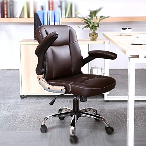Myka's Ergonomic Leather Executive Office Chair High Back Computer Chair with Upholstered Armrest Brown