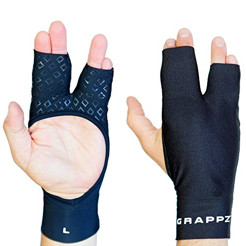 Finger Tape Alternative Compression Gloves Pair, Injury Jam Protection Splint & Grip Support for BJJ & Sports Black Unisex (Medium)