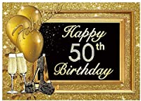 HD 7x5ft 50th Happy Birthday Party Backdrop Adult Golden Balloons Glitter Photo Background Metallic Luxury 50 Years Old Age Cake Table Decorations Photobooth Banner
