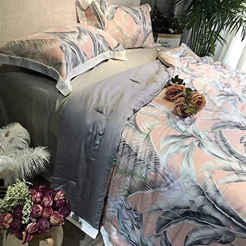 HFXY Antibacterial Duvet 4 Sets Summer Quilt Double/King Softness Machine Washable Quilt Microfiber (1 Quilt + 1 Sheet + 2 Pillowcases) 1012 (Color : E, Size : DOUBLE 200 * 230cm)