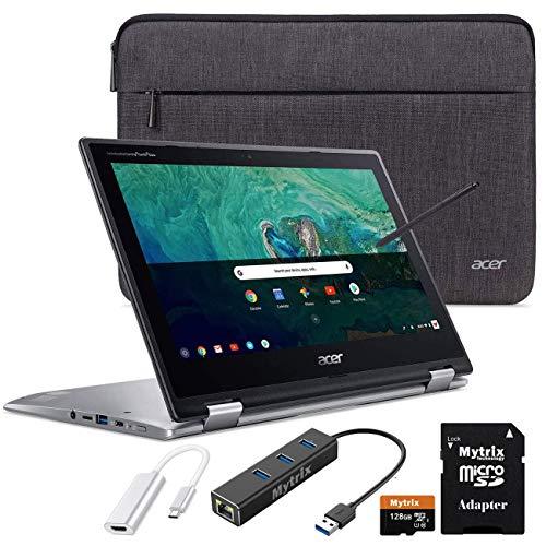 "Acer Chromebook Spin 11 2-in-1 Convertible Touchscreen Laptop 11.6"" HD IPS, Intel Celeron N3350, 4GB RAM, 32GB eMMC w/ Mytirx 128GB SD Card, WiFi, Pen, Ethernet Hub, HDMI Adapter, Sleeve"