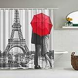 Kgblfd Cortina de Ducha Impermeable,Vintage Style Blanco y Negro Retro Torre Eiffel Paris Pareja Paraguas Rojo Picture Print,Cortinas de baño de poliéster con 12 Ganchos,tamaño 180 x 180cm