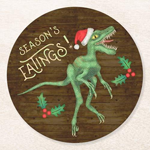 Posavasos para bebidas con base de corcho, divertido Navidad Velociraptor dinosaurio comer, juego de 4 posavasos redondos para el hogar y la cocina, divertido regalo para el hogar, regalos de Navidad