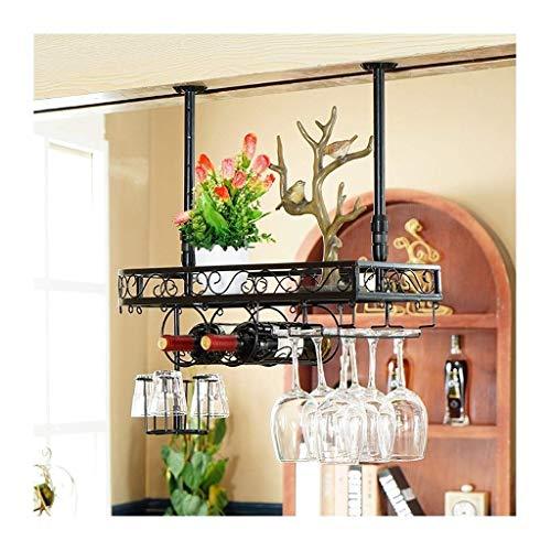 XJZKA Soporte de Vidrio Alto para Barra de Bar, decoración Creativa de Colgador de decoración de gabinete de Vino, portavasos de Vino Tinto Colgante Europeo, Estante para vinos al revés