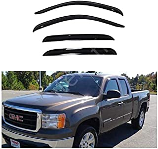 CLIM ART in-Channel Incredibly Durable Rain Guards for Chevy Silverado 07-13 Crew Cab Original Window Deflectors Vent Window Visors - 607003 Dark Smoke 4 pcs