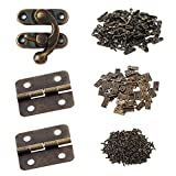 Gizhome 25 Sets Antique Right Latch Hook Hasp and 50 Sets Antique Bronze Small Box Mini Hi...