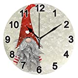 FULUHUAPIN Feliz Navidad Gnomos Reloj Cuarto de Baño Cocina Reloj de pared para Niña Niño No Ticking Silencioso Fácil de Leer para Decoración Dormitorio 9.5 Pulgadas Reloj Redondo 20317385