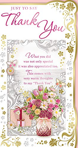 Cards Galore Online Dankeskarte mit Blumenstrauß, Geschenke und große Schmetterlinge, 22,9 x 12,1 cm