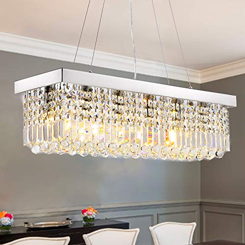 SILJOY Rectangle Ceiling Light for Dining Table Pendant Light with Crystal Dimmable Chandelier Lighting Fixtures for Living Room Bedroom Lights Fitting for Kitchen Modern(6-E14 Bulbs, Length 31.5