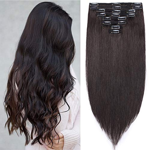 "Clip in Extensions Echthaar Haarverlängerung Haarteil Doppelt 8 Tressen hitzebeständig glatt Naturschwarz #1B 14""(35cm)-120g"