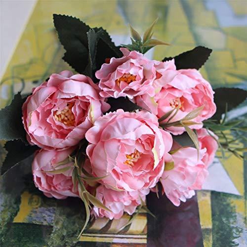 HGDD Künstliche Blumen Chic Bouquet Europäische hübsche Braut Hochzeit Kleiner Pfingstrose Seidenblumen billig Mini gefälschte Blumen für Dekoration innen (Color : Pink)