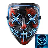 heytech Halloween Scary Mask Cosplay Led Costume Mask EL Wire Light up for Halloween Festival Party Blue