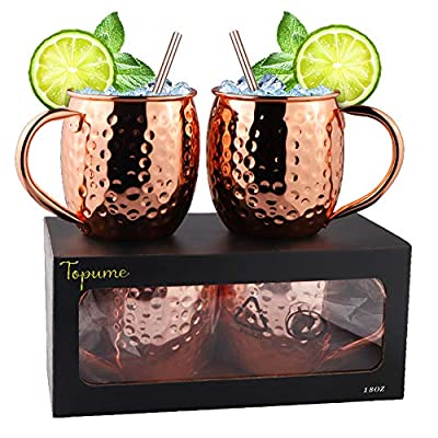 Solid Copper Mugs - 100% Handcrafted - Food Safe Pure Solid Copper Mugs- Use as Copper Tumbler, Mint Julep Cup, Coffee Mug, Ice Cream Cup, Fries Bowl, Copper Cup for Cold Beverage (SET OF 2)