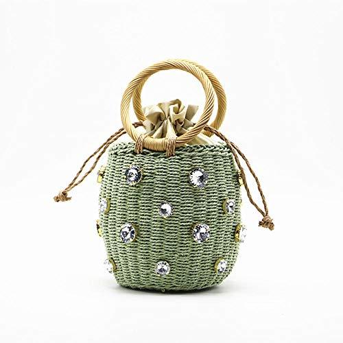 Zyyszma Bolso de paja con adornos de cristal de diamantes de imitación hecho a mano, bolsos pequeños de cubo de paja, bolsos y carteras de viaje para mujer, 17X18X13CM
