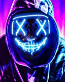 Scary Halloween Mask, LED Light up Mask Cosplay, Glowing in The Dark Mask Costume 3 Lighting Modes, Halloween Face Masks for Men Women Kids - Blue