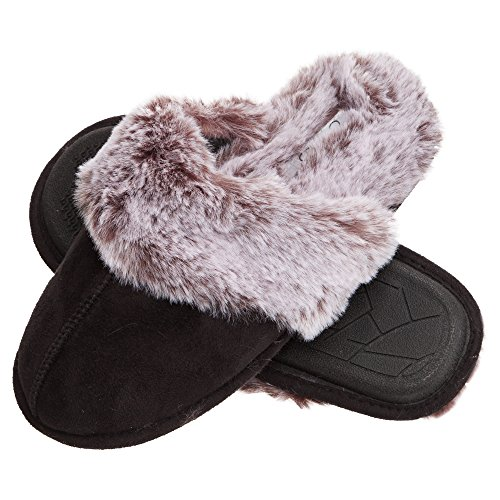 Jessica Simpson Women's Comfy Faux Fur House Slipper Scuff Memory Foam Slip on Anti-skid Sole, Black, Large