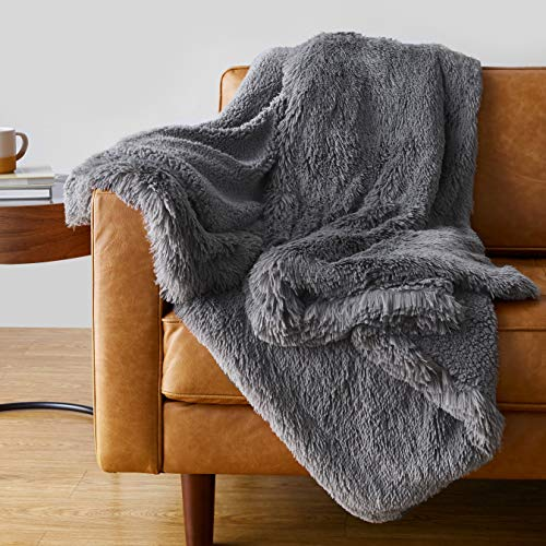 "Amazon Basics Shaggy Long Fur Faux Fur Sherpa Throw Blanket, 60""x70"" - Dark Grey"