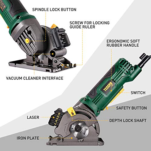 """Mini Circular Saw, TECCPO 4.8Amp Compact Circular Saw with Laser Guide, 3-3/8"""" Mini Saw with 3 Saw Blades, Scale Ruler and Pure Copper Motor,Ideal for Wood, Soft Metal, Tile and Plastic Cuts - TAPS22P"""