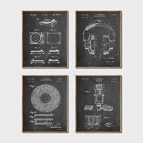 CNHNWJ Dj apparatuur patent muurkunst prints en posters Dj koptelefoon platenspeler Dj microfoon canvas schilderijen schilderijen moderne wooncultuur (40x60cmx4 / geen lijst)