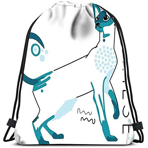 jenny-shop Kordelzug Taschen Rucksack Sphynx Katze Tier Katzen Kätzchen Kätzchen Haustier Muschi Reise Sporttaschen