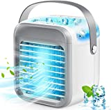 JulyPanny Air Cooler, Rechargeable Portable Air Conditioner with 3 Speeds 7 Colors, Personal Table Fan with Handle for Home, Office and Room